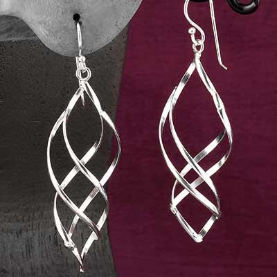 Silver Corkscrew Earrings