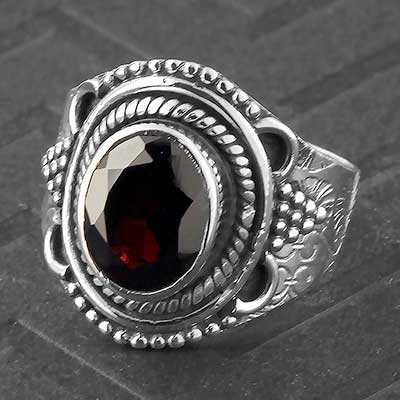 Silver and Beaded Garnet Ring