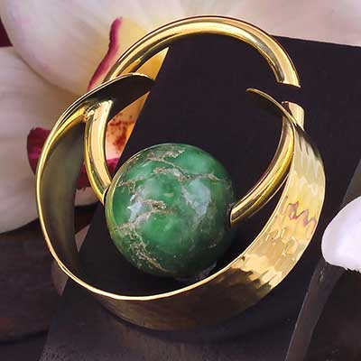 Brass and Faux Jade Globe  Weights