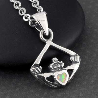Silver and Opal Claddagh Necklace