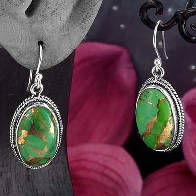 Silver and Green Bronze Boulder Earrings