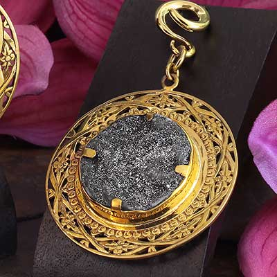 Solid Brass and Druzy Medallion Weights