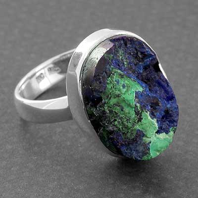 Silver and Azurite Malachite Ring