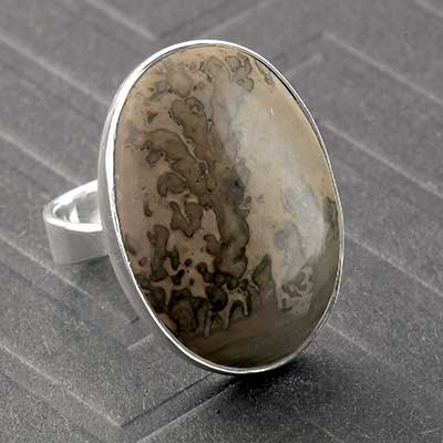Silver and Oval Volcanic Cottam Ring