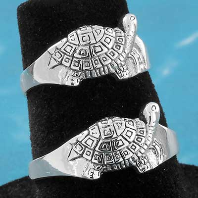 Silver Ornate Turtle Ring