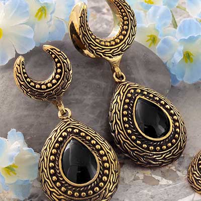 Brass Saddles with Ornate Teardrop Dangle