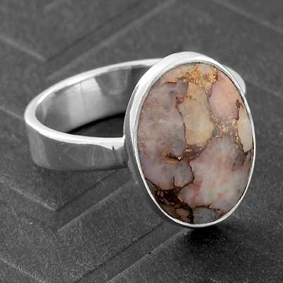 Silver and Copper Calcite Ring