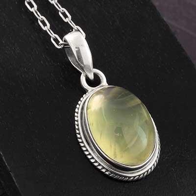 Prehnite and Silver Necklace