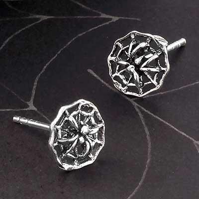 Silver Spiderweb Stud Earrings