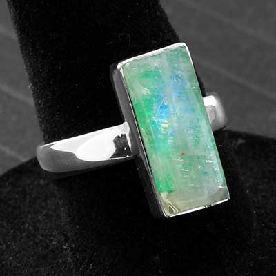 Silver and Green Moonstone Ring
