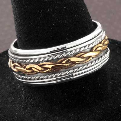 Silver and Brass Twisted Spinner Ring