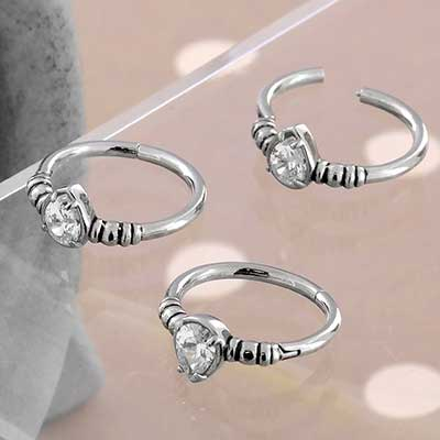 Steel and CZ Teardrop Clicker Ring