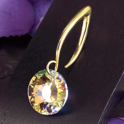 AB Swarovski Sun Crystal with Brass Hooks