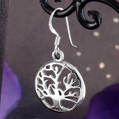 Silver Oak Tree Earrings