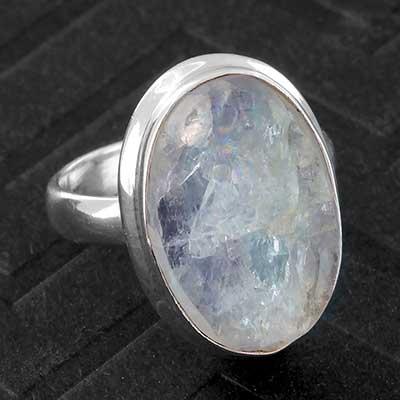 Silver and Rough Aquamarine Ring