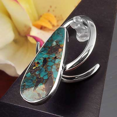 White Brass Coils with Chrysocolla