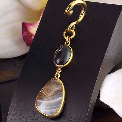 Solid Brass and Rainbow Obsidian with Montana Agate Weights
