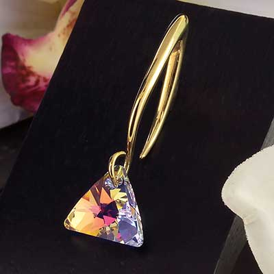 AB Swarovski Crystal with Solid Brass Hooks