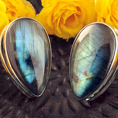 White Brass Spade Weights with Labradorite