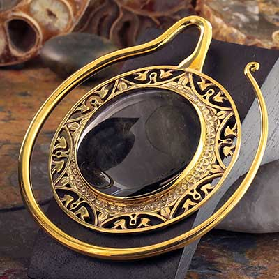 Solid Brass Puj Ju Hoops with Golden Obsidian
