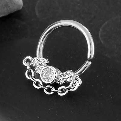 Steel CZ Leaf Seamless Ring with Chain