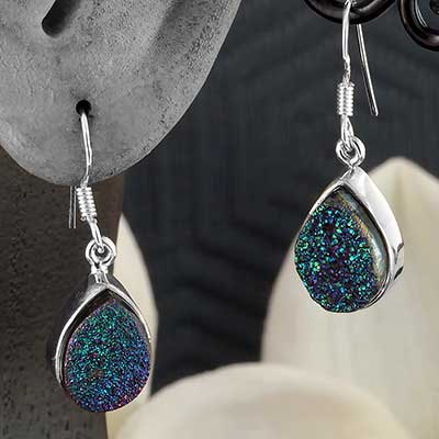 Silver and Titanium Plated Druzy Earrings