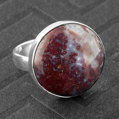 Silver and Red Moss Agate Ring
