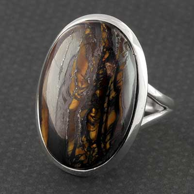 Silver and Tiger Iron Ring