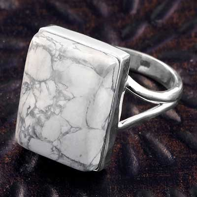Silver and Howlite Ring