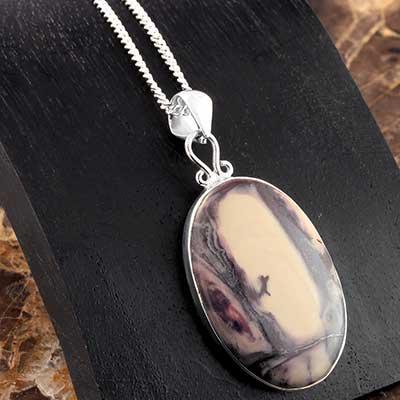 Porcelain Jasper and Silver Necklace