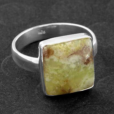 Silver and Green Opal Ring
