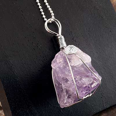 Wrapped Amethyst Necklace