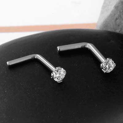 Titanium Prong Set CZ Straight Nosescrew