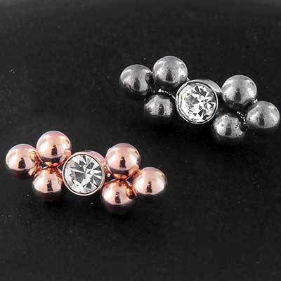 Gemmed Beaded Cluster Threaded End