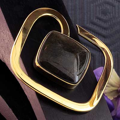 Solid Brass Square Weights with Golden Obsidian