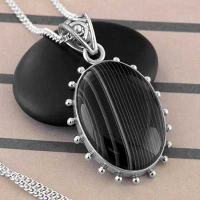 Striped Agate and Silver Necklace