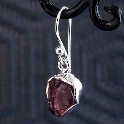 Silver and Rough Garnet Earrings