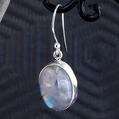 Silver and Light Blue Moonstone Earrings