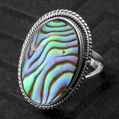 Silver and Abalone Shell Ring