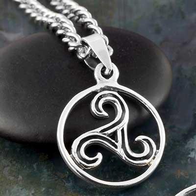 Silver Celtic Triskele Swirl Necklace