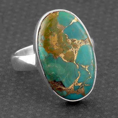 Silver and Blue Bronze Boulder Ring