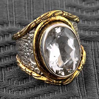 Silver Textured Quartz Gemstone Ring