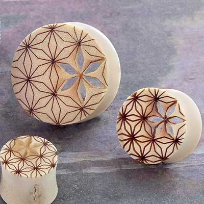 Crocodile Wood Flower of Life Plugs