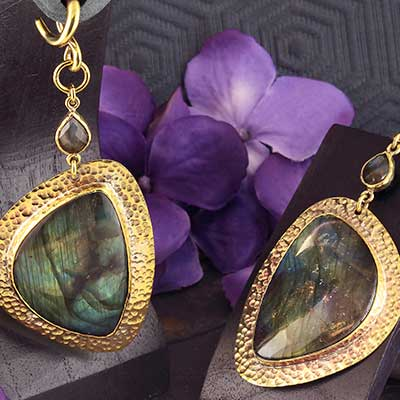 Hammered Brass and Labradorite Dangle Weights