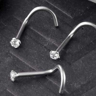 Titanium Prong Set CZ Nosescrew