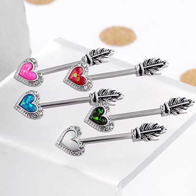 Synthetic Opal Heart Arrow Nipple Barbell