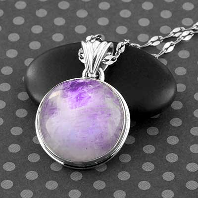 Purple Moonstone and Silver Necklace