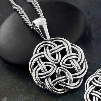 Silver Celtic Circle Eternity Knot Necklace