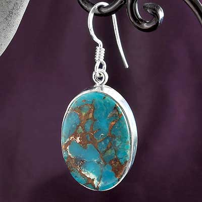 Silver and Blue Bronze Boulder Earrings