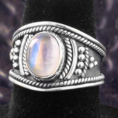Silver and Rainbow Moonstone Beam Ring